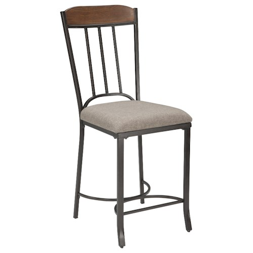 Signature Design by Ashley Zanilly Metal/Wood Upholstered Barstool