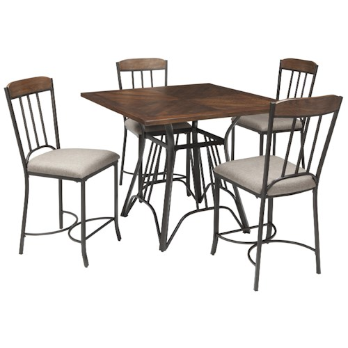 Signature Design by Ashley Zanilly Square Dining Room Counter Table Set