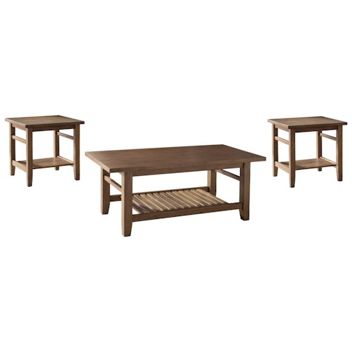 Signature Design by Ashley Zantori 3-Piece Occasional Table Set with Slat Shelves
