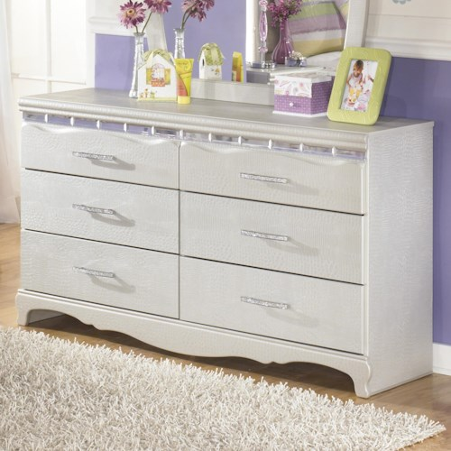 Signature Design by Ashley Zarollina 6-Drawer Dresser in Silver Pearl Faux Gator Finish