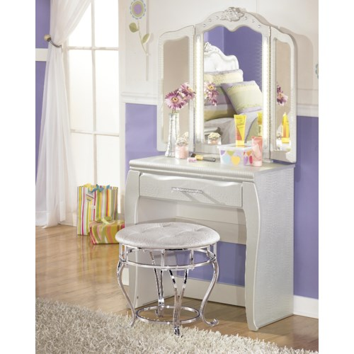Signature Design by Ashley Zarollina Desk & Vanity Mirror in Silver Pearl Faux Gator Finish