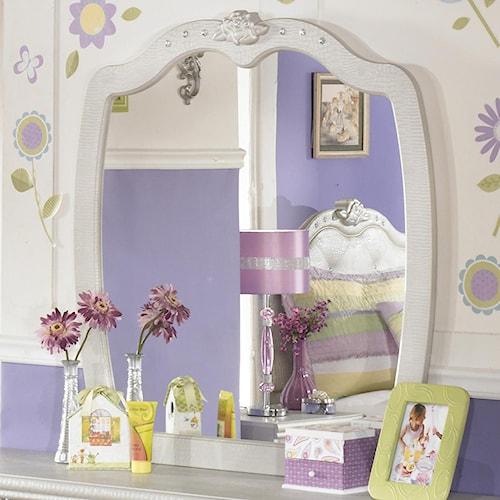Signature Design by Ashley Zarollina Bedroom Mirror in Silver Pearl Faux Gator Finish