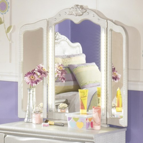 Signature Design by Ashley Zarollina Tri-Fold Vanity Mirror with LED Lighting