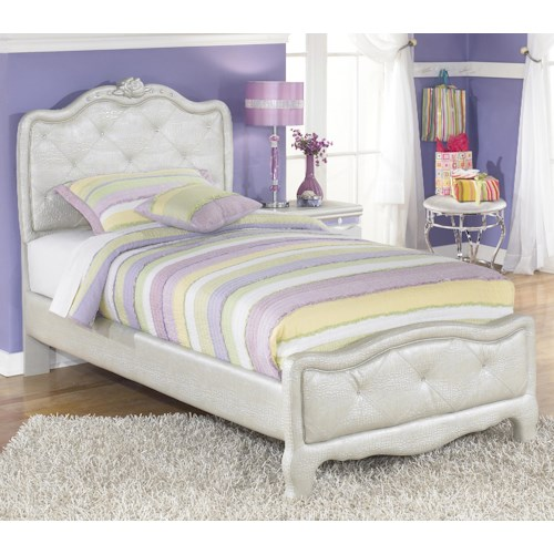 Signature Design by Ashley Zarollina Twin Upholstered Bed in Silver Peal Faux Gator Finish
