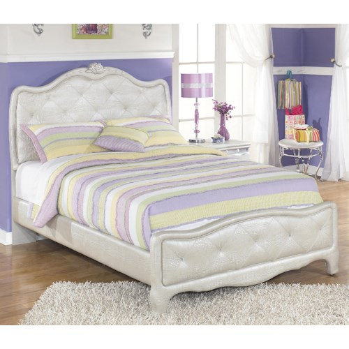 Signature Design by Ashley Zarollina Full Upholstered Bed in Silver Pearl Faux Gator Finish
