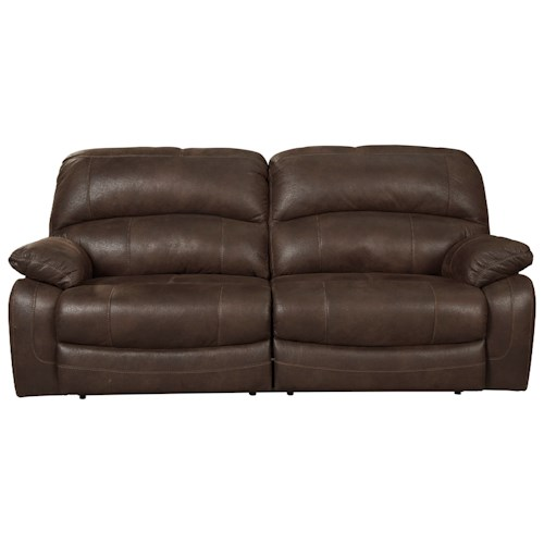 Signature Design by Ashley Zavier 2 Seat Reclining Power Sofa in Brown Faux Leather