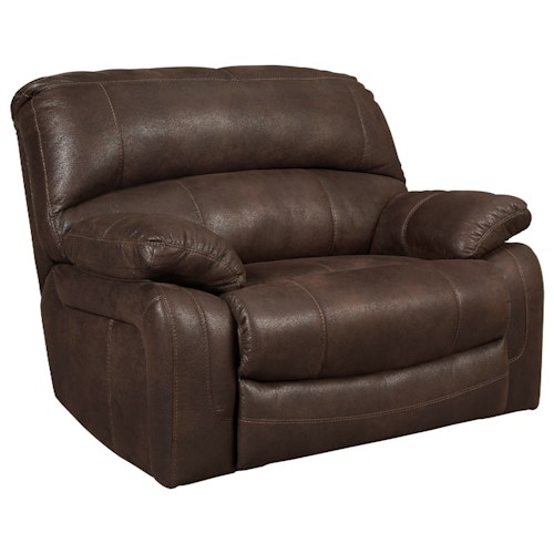 Signature Design by Ashley Zavier Wide Seat Power Recliner in Brown Faux Leather