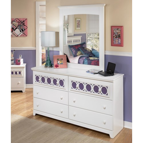 Signature Design by Ashley Zayley 6-Drawer Dresser with Customizable Color Panels & Mirror