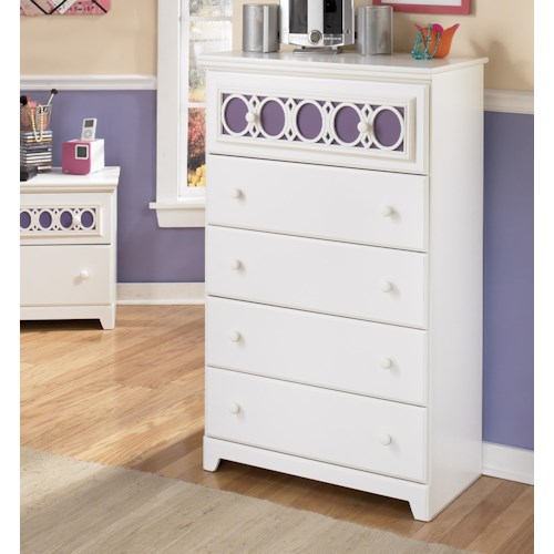 Signature Design by Ashley Zayley 5-Drawer Chest with Customizable Color Panel