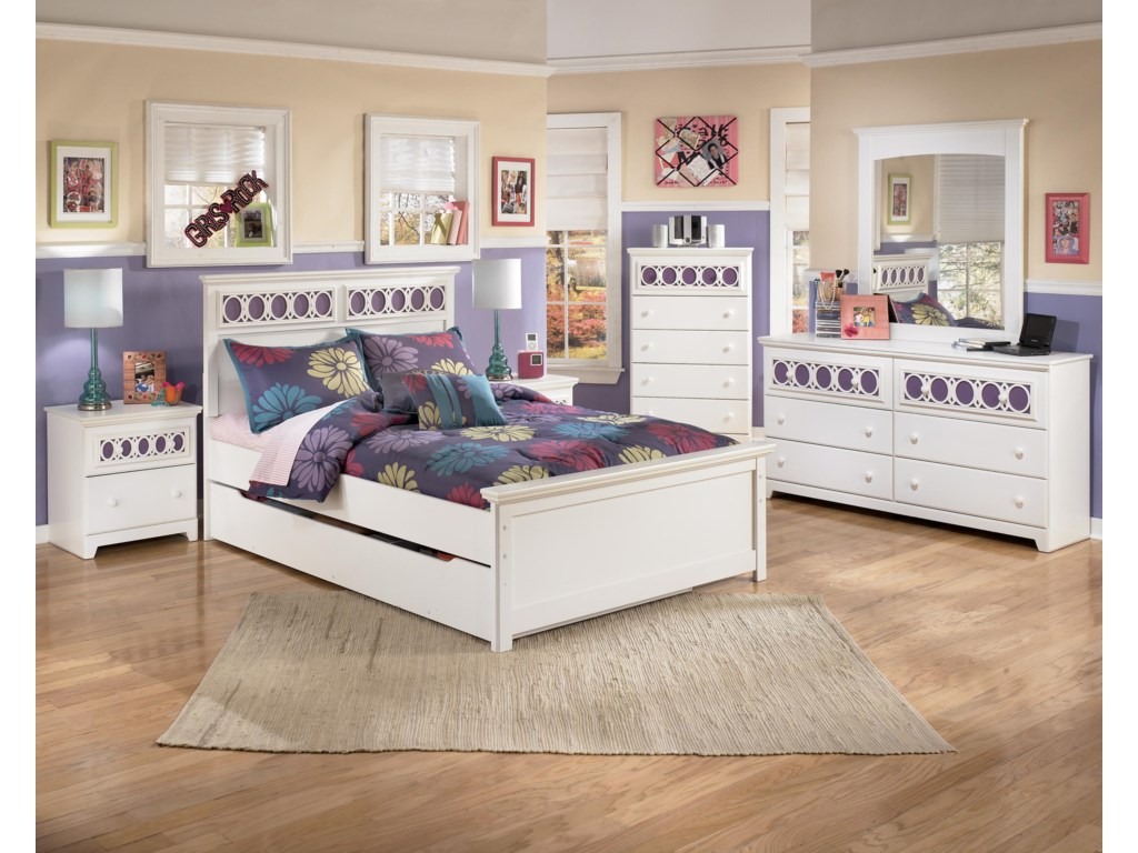 Shown with Night Stand, Full Panel Bed, Chest, Dresser, and Mirror