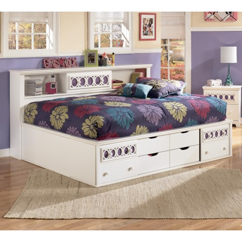 Signature Design by Ashley Zayley Full Bedside Bookcase Daybed with Customizable Color Panels