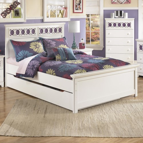 Signature Design by Ashley Zayley Full Platform Bed with Trundle Storage Box & Customizable Color Panels