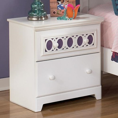 Signature Design by Ashley Zayley 2-Drawer Night Stand with Customizable Color Panel