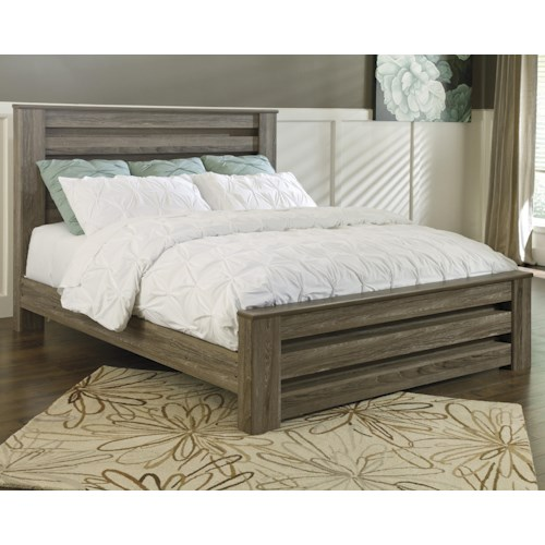 Signature Design by Ashley Zelen King Poster Bed in Warm Gray Rustic Finish
