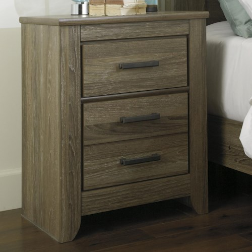 Signature Design by Ashley Zelen Rustic Two Drawer Night Stand