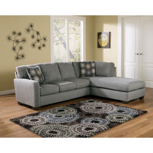 Signature Design by Ashley Zella - Charcoal Contemporary Sectional Sofa with Right Arm Facing Chaise