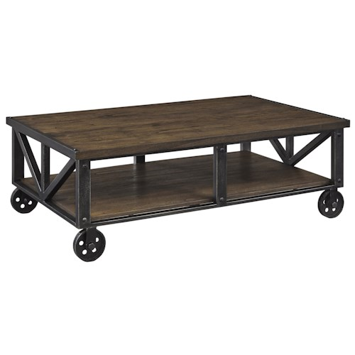 Signature Design by Ashley Zenfield Wood/Metal Rectangular Cocktail Table with Industrial Style Cart Wheels