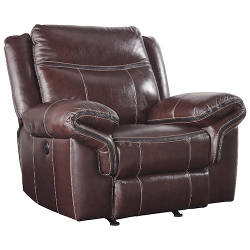 Signature Design by Ashley Zephen Leather Match Rocker Recliner