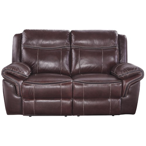 Signature Design by Ashley Zephen Leather Match Reclining Power Loveseat