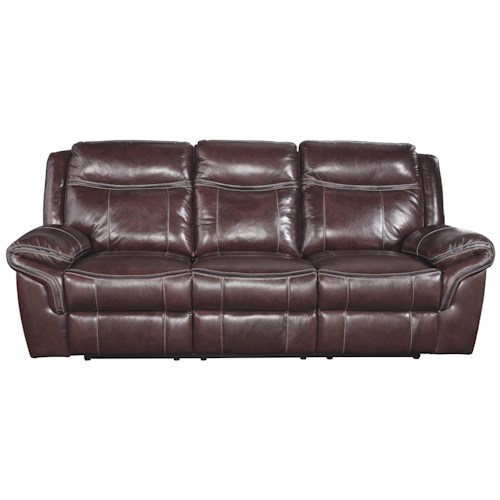 Signature Design by Ashley Zephen Leather Match Reclining Power Sofa