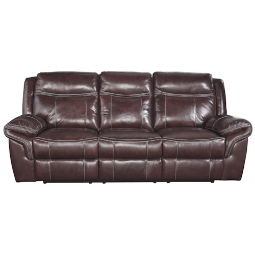 Signature Design by Ashley Zephen Leather Match Reclining Sofa