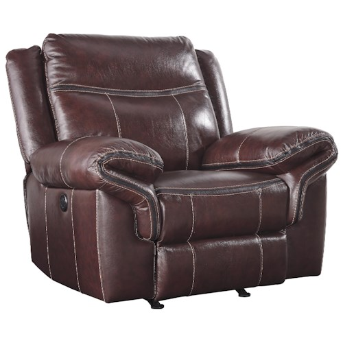 Signature Design by Ashley Zephen Leather Match Power Rocker Recliner