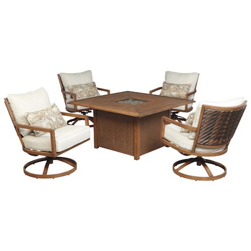 Signature Design By Ashley Zoranne 5 Piece Square Fire Pit Table Set Wayside Furniture