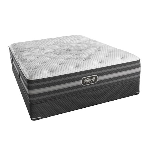 Simmons BR Black Desiree Queen Plush Mattress and Triton European Foundation