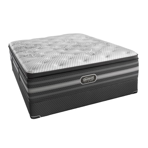 Beautyrest BR Black Katarina Queen Plush Pillow Top Mattress and BR Black Low Profile Foundation
