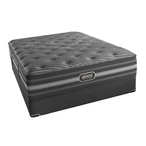 Simmons BR Black Mariela Twin Extra Long Plush Mattress and Triton European Foundation