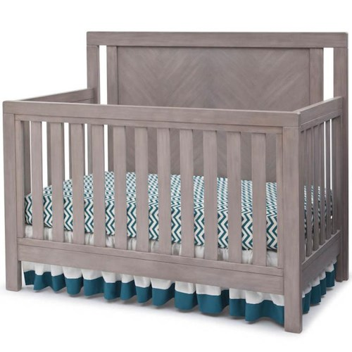 Simmons Kids Chevron 4-in-1 Crib with Wood-Grain Pattern