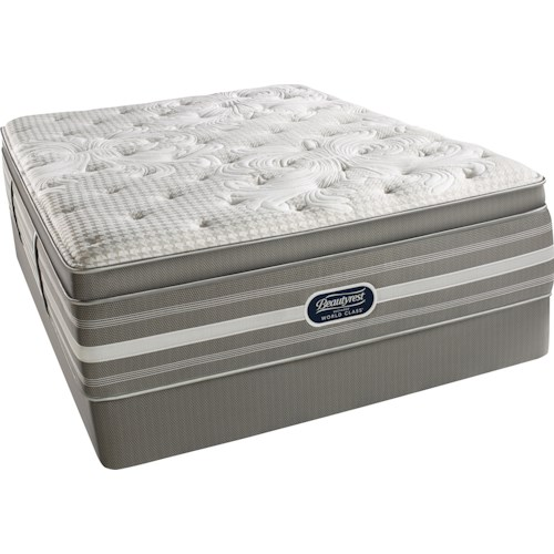 Simmons World Class Level 5 Jessica Twin Plush Pillow Top Mattress and Triton Foundation