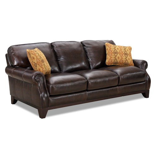 Simon Li 6973 Leather Rolled Arm Sofa With Fabric Accent