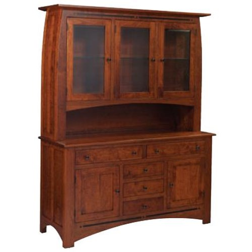 Simply Amish Aspen 3-Door Open Hutch China Cabinet