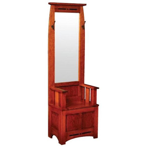 Simply Amish Aspen Hall Seat with Mirror and Hooks