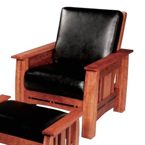 Simply Amish Aspen Mission Easy Chair with Walnut Inlay
