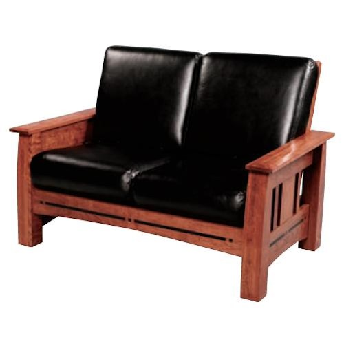 Simply Amish Aspen Mission Loveseat with Walnut Inlay