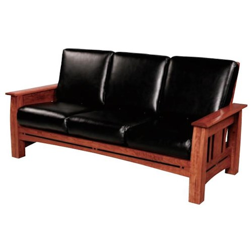 Simply Amish Aspen Mission Sofa with Walnut Inlay