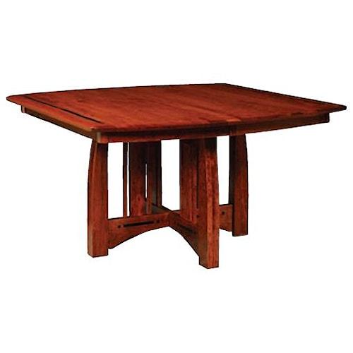 Simply Amish Aspen Pedestal Table with Ebony Inlay