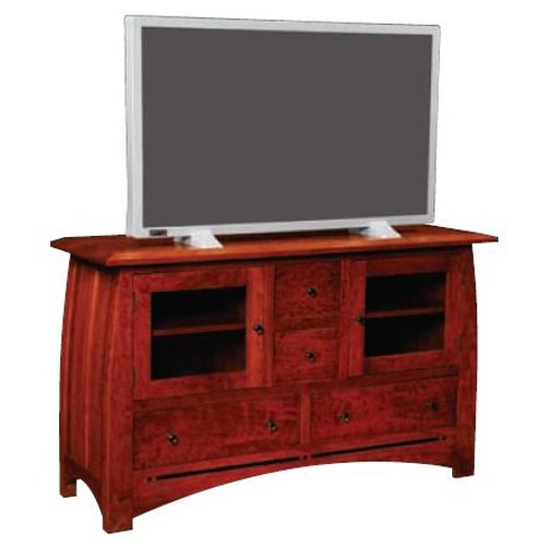 Simply Amish Aspen Large TV Stand with Walnut Inlay
