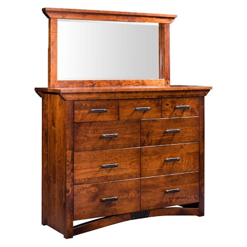 Simply Amish B and O Railroad Trestle Bridge Bureau and Mirror with 9 Drawers