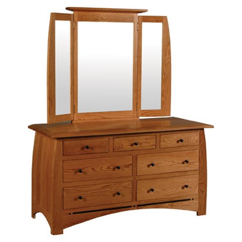 Simply Amish Aspen 7-Drawer Dresser and Tri-View Beveled Mirror