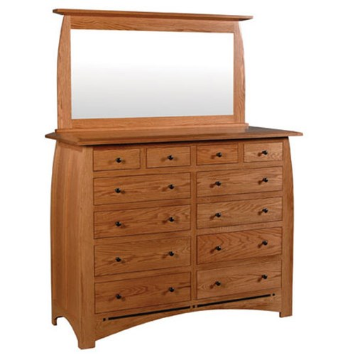 Simply Amish Aspen 12-Drawer Bureau and Beveled Mirror