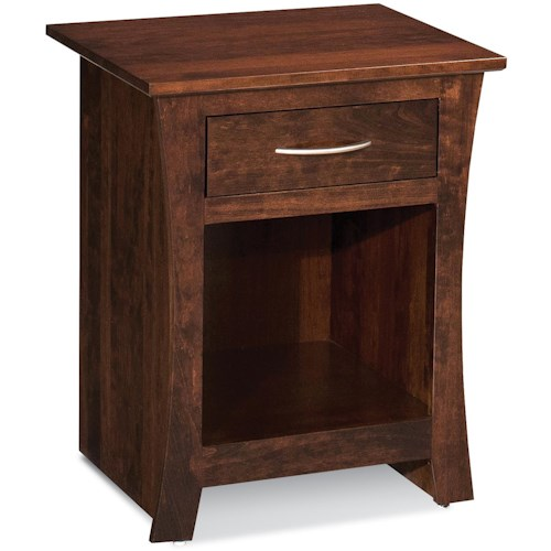 Simply Amish Garrett Nightstand with Open Compartment