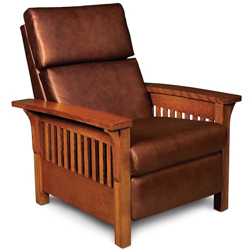 Simply Amish Grand Rapids High Leg Recliner with Wood Arms and Sides