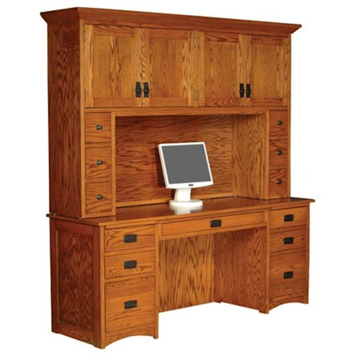 Simply Amish Prairie Mission Prairie Mission Computer Credenza and Hutch