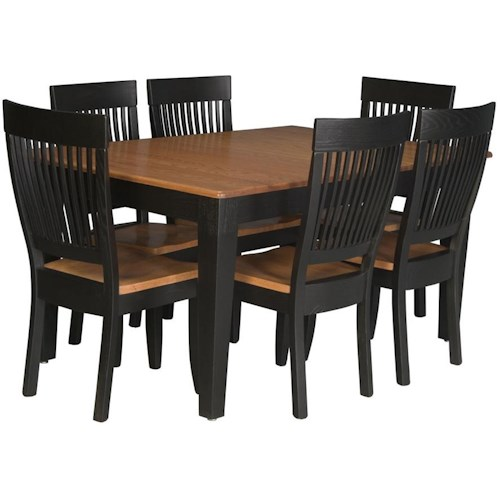Simply Amish Homestead Amish 7 Piece Leg Table and Side Chair Set
