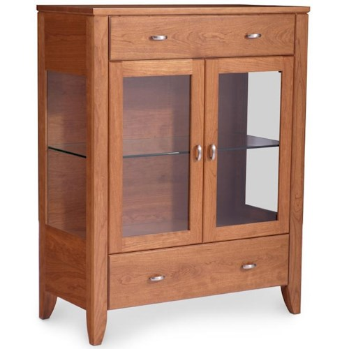 Simply Amish Justine Dining Cabinet w/ 2 Glass Panel Doors