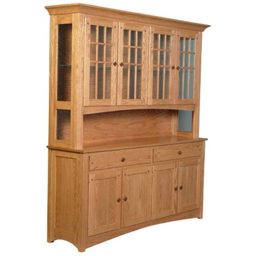 Simply Amish Royal Mission Royal Mission Open Hutch with 4 Mullion Doors