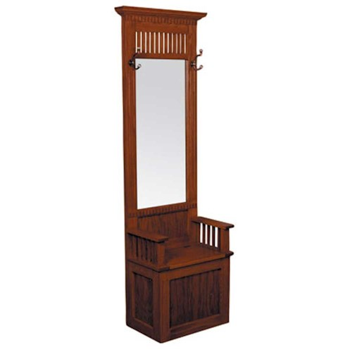 Simply Amish Mission Amish Mission Hall Seat with Beveled Mirror